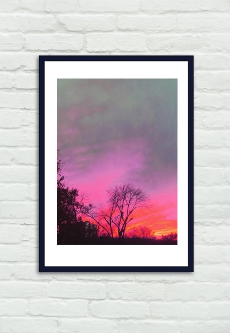 Sunset photography, magenta pink sky art print, mint grey black urban silhouette, orange red nature picture, vertical sunset wall art decor