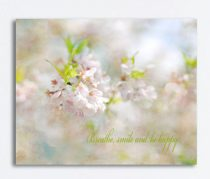 Neutral canvas art Cherry Blossom photography, nature canvas, ivory blue pink pastel art, quote art canvas print large wall decor beige kiwi