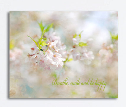Neutral canvas art Cherry Blossom photography, nature canvas, ivory blue pink pastel art, quote art canvas print large wall decor beige kiwi