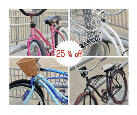 Bicycle photo set, beach bike photography, blue pink bike prints, bicycle art, beach cottage wall art set, beach cruiser, coastal wall decor