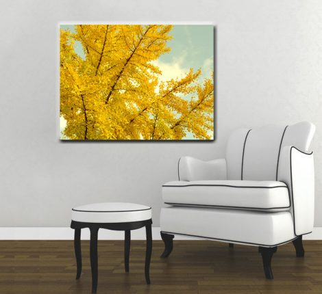 Yellow tree canvas art, large yellow wall art, oversized art canvas print, tree photograpy, Autumn canvas, gold amber aqua mint living room