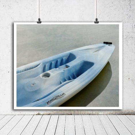 Boat art print, lake house decor, grey blue nautical art, large art boat photographic print, bathroom art, kayak canoe picture, gift for him