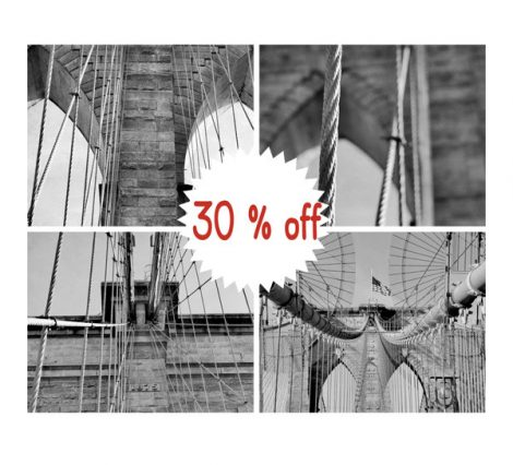 Black and white photography Brooklyn Bridge art set 4 gallery wall prints 8x10, 11x14, bridge architecture industrial art, bridge wall decor