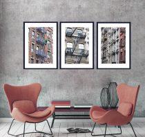 New York apartment art photography set of 3 prints, SoHo New York buildings, New York City art, NYC urban wall decor, fire escape, cityscape