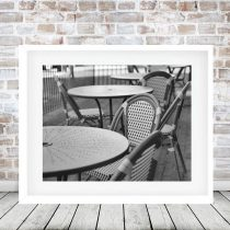 Cafe photography black and white French restaurant outdoor cafe bistro wall decor, dining room kitchen wall print, cafe table chairs picture
