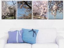 4 piece wall art Spring nature canvas set, cherry blossom trees, four vertical gallery wraps, living room canvas wall art set, DC wall decor