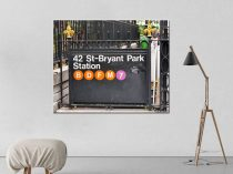 New York Subway sign, New York City canvas subway art, 42 st Bryant Park subway canvas, New York gift, NY large office art, dorm wall decor