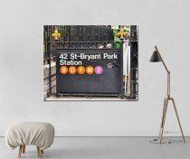 New York Subway sign, New York City canvas subway art, 42 st Bryant Park subway canvas, New York gift, NY large office art, dorm wall decor