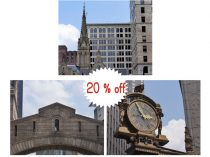 Pittsburgh art, travel photography, architecture art prints, Kaufmann clock, Bridge of Sighs pictures, Pittsburgh print set urban wall decor