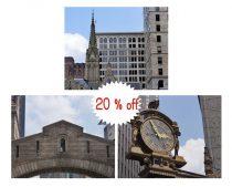 Pittsburgh art, travel photography, architecture art prints, Kaufmann clock, Bridge of Sighs pictures, Pittsburgh print set urban wall decor