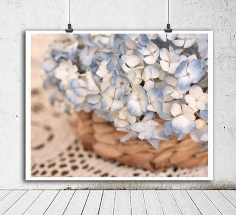 Shabby chic wall art, still life photography, blue hydrangea print large artwork, French country cottage wall art, floral country home decor