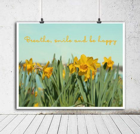 Spring flowers, daffodil photography print or canvas, mindfulness breathe happiness inspirational quote photo, mint green yellow wall art