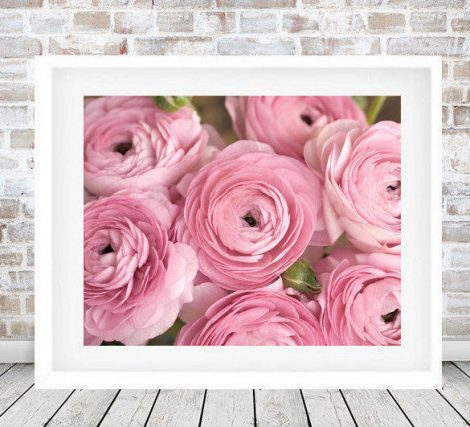 Floral photography pink ranunculus, dusty pink flower artwork, cottage chic decor, large wall art, bedroom art for her living room print