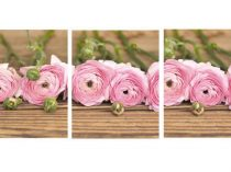 3 piece wall art floral still life photography set of 3 prints, brown pink shabby chic art, rustic cottage art, ranunculus flower pictures