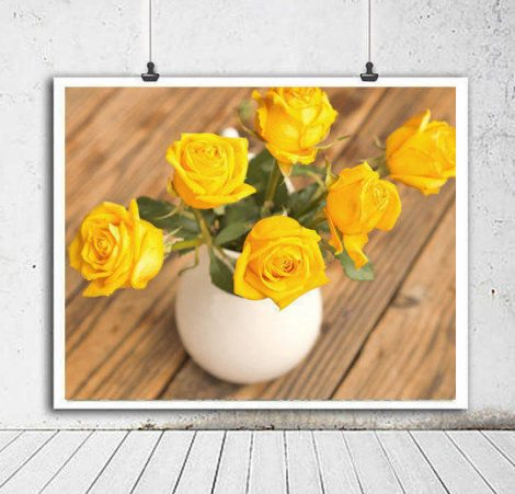Country chic home decor, shabby chic cottage art, yellow flowers in vase roses bouquet, still life large picture farmhose bedroom bath decor