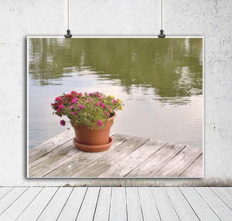 Lake house wall art, large photography print, shabby chic lake cottage wall decor, lake dock wall art, green grey lake home wall decor