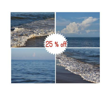 Ocean beach pictures, gallery wall prints, navy blue wall art, coastal set of 4 prints, navy blue bathroom decor, blue cottage decor bedroom