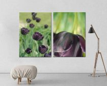 2 piece wall art, dark plum eggplant wall art canvas set, floral canvas art, purple wall art set, oversize canvas art, tulip artwork, green