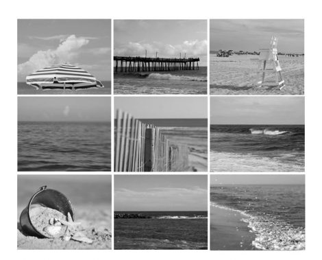 Black and white beach photography, gallery wall set, ocean beach pictures, coastal prints set of 9 gallery wall prints, dark grey wall decor