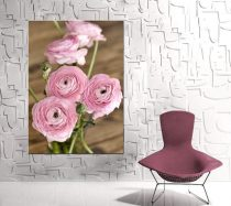 Shabby chic canvas art, large artwork floral wall art, rustic wall decor canvas wrap vertical, pink brown country cottage chic, ranunculus