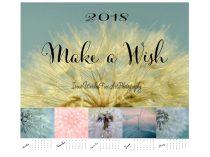 2018 calendar,  dandelion photography calendar, fine art botanical calendar nature photo calendar, 5x7, 4x6 calendar with easel, make a wish