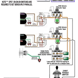 [TVPR_3874]  Brian Presley - Guitar - Wiring Diagram for LACE Dually 2V,2T(stacked),  S/P/S PuP Switching (x2), N/C/B PuP Selector, Momentary Off Switch,  Shielded with .33 pf 400V Cap for AC/DC Shock Prevention (via   Lace Sensor Dually Wiring Diagram      Fandalism