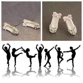 Delicate Rhinestone Ballet Earrings