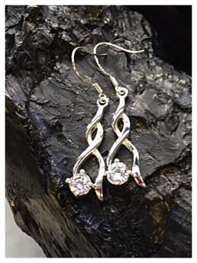 Free Shipping.....Double Wave Earring with Sparkling Cubic Zirconia