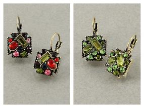 Multi Gemstone Cluster Earrings
