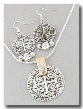 Cross Relic Pendant and Earring Set