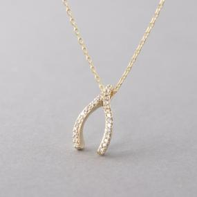 Lucky Pave Wishbone Necklace