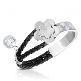 Sterling Silver Plated Black Leather Cubic Zirconia Flower Clover Bracelet Bangle