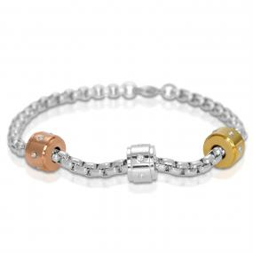 3 Color Stone Bracelet with diamond CZ studs.