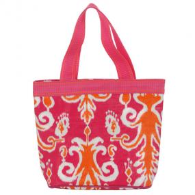 Pink/Orange Ikat Zip Large Lunch Tote