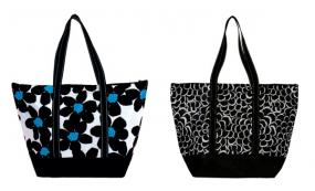 Black and White Petals or Black Daisy  Large Zip Tote Bag