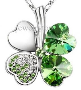 Swarovski Elements Crystal Leaf Clover Pendant Green Heart Love Necklace Interlocking