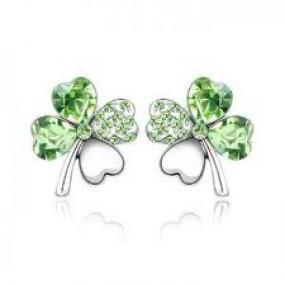 Lucky Stunning Crystals Heart Four Leaf Clover Earrings Studs Gift