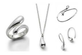 Tiffany Inspired 5 Piece Teardrop Jewelry Set...Free Shipping