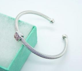 Yurman Inspired Cable Bracelet with Pink Rhinestones