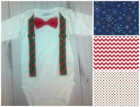 Christmas Onesie with Faux Suspenders and Matching Bowtie