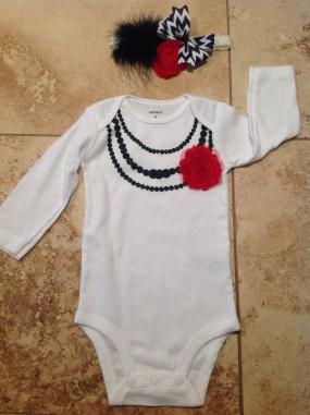 Faux Necklace onesie with matching headband