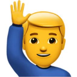 Man Raising Hand Emoji U 1f64b U 200d U 2642 U Fe0f