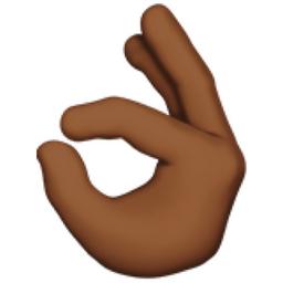 OK Hand: Medium-Dark Skin Tone Emoji (U+1F44C, U+1F3FE)  Okay Hand Emoji