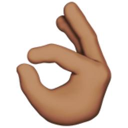 OK Hand: Medium Skin Tone Emoji (U+1F44C, U+1F3FD)  Okay Hand Emoji