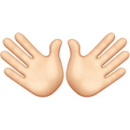 Open Hands: Light Skin Tone Emoji (U+1F450, U+1F3FB)