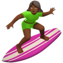 Woman Surfing Medium Dark Skin Tone Emoji U 1f3c4 U 1f3fe U 0d U 2640 U Fe0f
