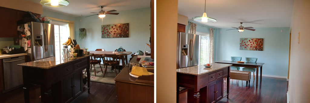 This home had little that needed to be done. Some de-cluttering was really all that was necessary in this Bellefonte home we sold. Notice how we also removed the hutch, swapped out the table, chairs & curtains. Sometimes homes only need small tweaks in order to sell.