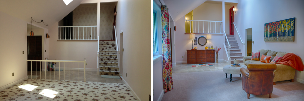 The carpeting, out-dated lights and wallpaper in this State College home had to go. We neutralized and staged thus getting the homeowner $25,000 more than they were expecting.