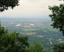 View of Beaver Stadium and Bryce Jordan Center from atop Mount Nittany