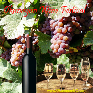 Okanagan Wine Festival bottle with grapes in background